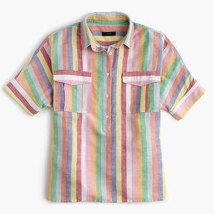 J. Crew Candy Stripe Rainbow Half Button Blouse